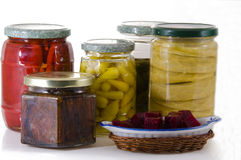 Jars of pickles.. Jars of pickles, assorted vegetables Royalty Free Stock Images
