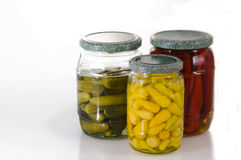 Jars of pickles..... Jars of pickles, assorted vegetables Stock Image