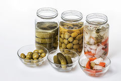 Jars of pickles Stock Photography