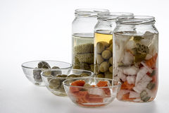 Jars of pickles Stock Images