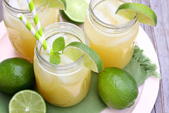 Jars of Pineapple Mint Limeade Stock Photos