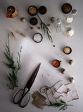 Jars of powders, leaves burnt paper, scissors, quail eggs on the table. top view Stock Photo