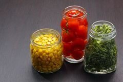 Jars with preserved food Stock Photo