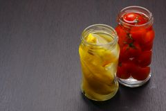 Jars with preserved food Stock Photos