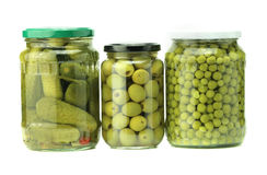 Jars of preserved food Stock Images