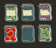 Jars with preserves homemade vegetables and jam. Stock Image