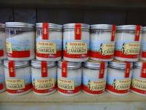 Jars of sea salt for sale on shelf Stock Photos