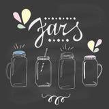 Jars set. Hand drawn sketch illustration Stock Image