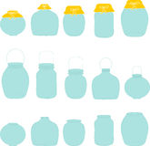 Jars set, jar with bow, silhouettes Royalty Free Stock Photos