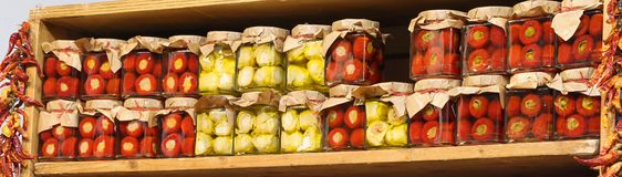 Jars with specialties typical of southern Italian regions such a stock photography
