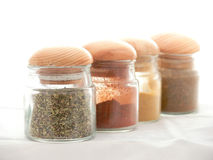 Jars with spices Royalty Free Stock Photo