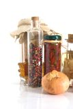 Jars of Spices and Garlic and. Onion stock photos