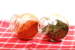 Jars with spices paprika and lovage  Stock Image
