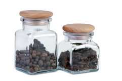 Jars of spices on white background Royalty Free Stock Photography