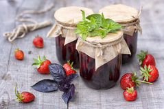 A jars of strawberry jam Royalty Free Stock Photography