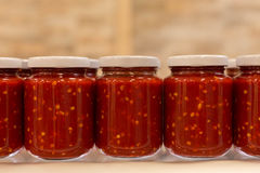 Jars of tomato sauce Stock Image