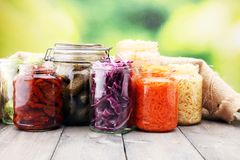 Jars with variety of pickled vegetables. Preserved food. Jars with variety of pickled vegetables. Preserved food Stock Images