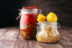 Jars with variety of pickled vegetables. Preserved food.  Royalty Free Stock Photography