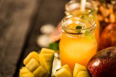Glasses of juices. Refreshments and summer drinks. Stock Photography