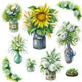 Jars and vases with bouquets in rustic style. Royalty Free Stock Photography