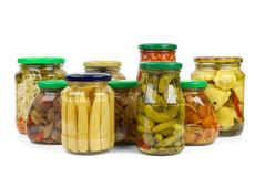 Jars with vegetables and mushrooms Stock Photo