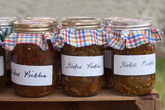 Jars of Wicked Pickle Relish Royalty Free Stock Image
