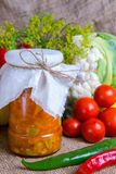 Jars with winter supplies Royalty Free Stock Images