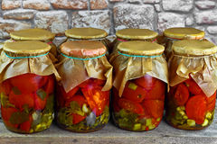 Jars With Tomatoes Royalty Free Stock Image