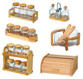 Jars with wooden spoon and wooden bread box. Jars with wooden spoon and natural look of wooden bread box isolated Stock Image