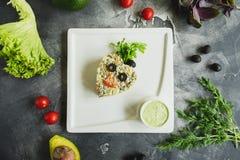 jarscy świezi sałatkowi warzywa Smakowity Domowej roboty jedzenie Mieszkanie nieatutowy, odgórny widok obraz stock