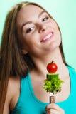 Jarska dziewczyny mienia sterta warzywa Obrazy Stock