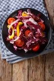 Jarska sałatka radicchio, pomidory i pieprzowy zbliżenie, Vert Fotografia Stock