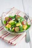 Jarska sałatka z avocado, winogrono, rucola, cebula, w szklanym pucharze obraz royalty free