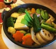Jarski Japoński posiłek z warzywami - pięknie przygotowany świeży zdrowy Azjatycki jedzenie obraz royalty free