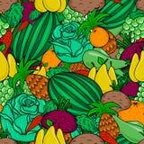 Jarski jedzenie wzór - owoc i warzywo, bezszwowy wektoru wzór Obrazy Royalty Free