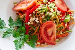 Jarski naczynie marchewki, zucchini, pieczarki, pomidory, sprou fotografia stock