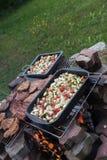 Jarski opieczenie i piec na grillu mięso - BBQ Obraz Royalty Free