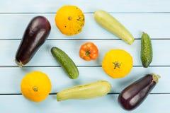 Jarski zdrowy jedzenie z warzywami Pomidor, ogórki, krzak banie, eggplantsand szpiki kostni na błękitnym drewnianym stole Obraz Royalty Free