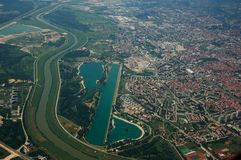 Jarun Lake. Aerial photo of the Jarun Lake (Zagreb) and the Sava Rive Stock Photos