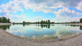 Jarun lake in spring time, Zagreb. Croatia. Shoot with wide angle lens stock video footage