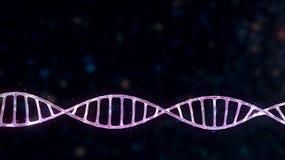 Jarzący się DNA spiralę w abstrakt przestrzeni odizolowywającej ilustracja wektor
