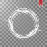 Jarzeniowa round rama z, dużo i błyszczymy cząsteczki odizolowywać na przejrzystym tle wektor Obraz Stock