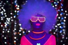Jarzeniowego ultrafioletowego neonowego seksownego dyskoteki cyber lali żeńskiego robota elektroniczna zabawka Obraz Stock