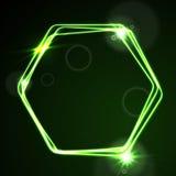 Jarzeniowego zielonego neonowego wektorowego sześciokąta błyszczący projekt ilustracji