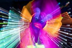Jarzeniowej ultrafioletowej neonowej seksownej dyskoteki cyber żeńska lala Zdjęcie Stock