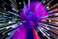 Jarzeniowej ultrafioletowej neonowej seksownej dyskoteki cyber żeńska lala Obrazy Royalty Free