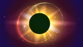 Jarzeniowy lekki skutek Planeta zakrywa słońce, Słoneczny zaćmienie, astronomiczny zjawisko - folujący słońca zaćmienie promienie ilustracja wektor