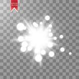 Jarzeniowy lekki skutek Starburst z błyska na przejrzystym tle również zwrócić corel ilustracji wektora Fotografia Stock