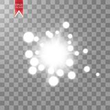 Jarzeniowy lekki skutek Starburst z błyska na przejrzystym tle również zwrócić corel ilustracji wektora Fotografia Royalty Free
