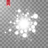 Jarzeniowy lekki skutek Starburst z błyska na przejrzystym tle również zwrócić corel ilustracji wektora Zdjęcie Stock